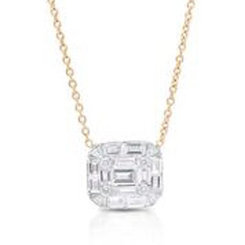 18KT YELLOW GOLD ROUND AND BAGUETTE DIAMOND PENDANT WITH 16
