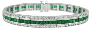 18KT WHITE GOLD EMERALD & DIAMOND BRACELET