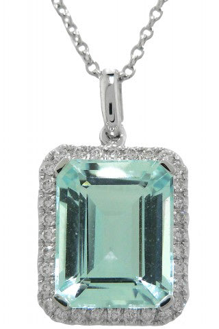 18KT WHITE GOLD AQUA AND DIAMOND PENDANT WITH CHAIN