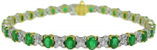 18KT TWO-TONE EMERALD AND DIAMOND BRACELET