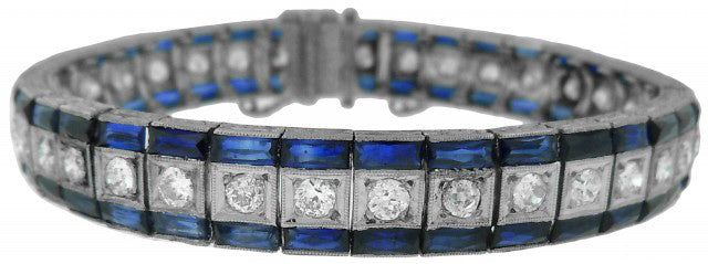 PLATINUM DIAMOND & SYNTHETIC SAPPHIRE ANTIQUE BRACELET