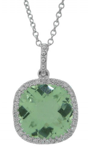 18KT WHITE GOLD GREEN AMETHYST AND DIAMOND PENDANT WITH CHAIN.