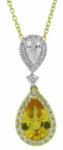 18KT TWO-TONE YELLOW SAPPHIRE AND DIAMOND PENDANT WITH CHAIN