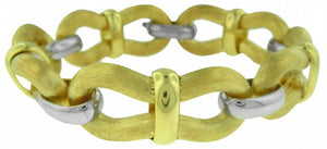 WIDE SILVER LINK BRACELET WITH GOLD PLATING