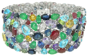 "18KT WHITE GOLD 1""WIDE DIAMOND AND MULTI-COLOR STONE FLEXIBLE BRACELET 6 7"