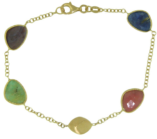 18KT YELLOW GOLD MULTI-COLOR STONE BRACELET
