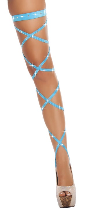 "100"" Solid Leg Strap w/ Attached Garter & Rhinestone Detail"