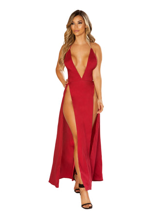 Maxi Length Satin - Dress with High Slits & Deep V