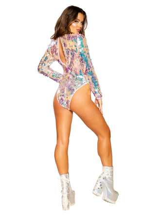 Long Sleeved Tear Drop Sequin Romper