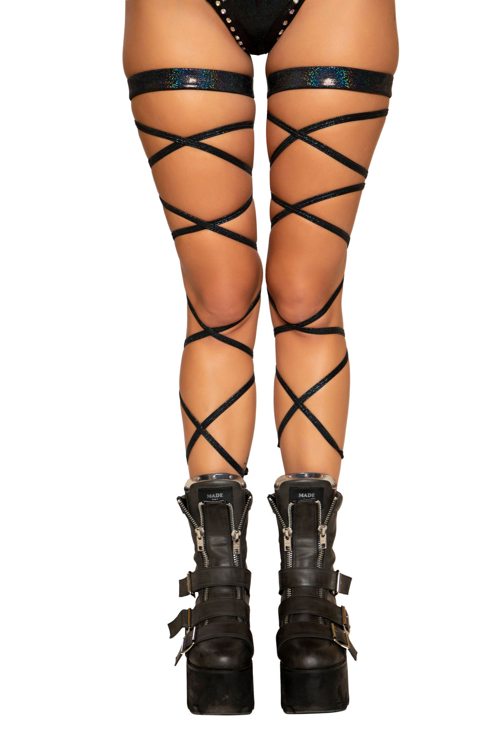 "100"" Black Shimmer Leg Strap with Attached Garter"