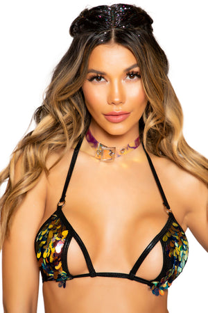 Tear Drop Sequin Bikini Top with Cutout Detail