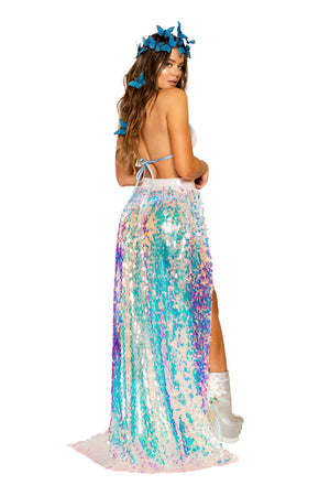 Open Banded Sequin Skirt