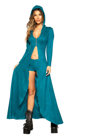 2pc Suede Hooded Robe with Zipper Closure and Shorts