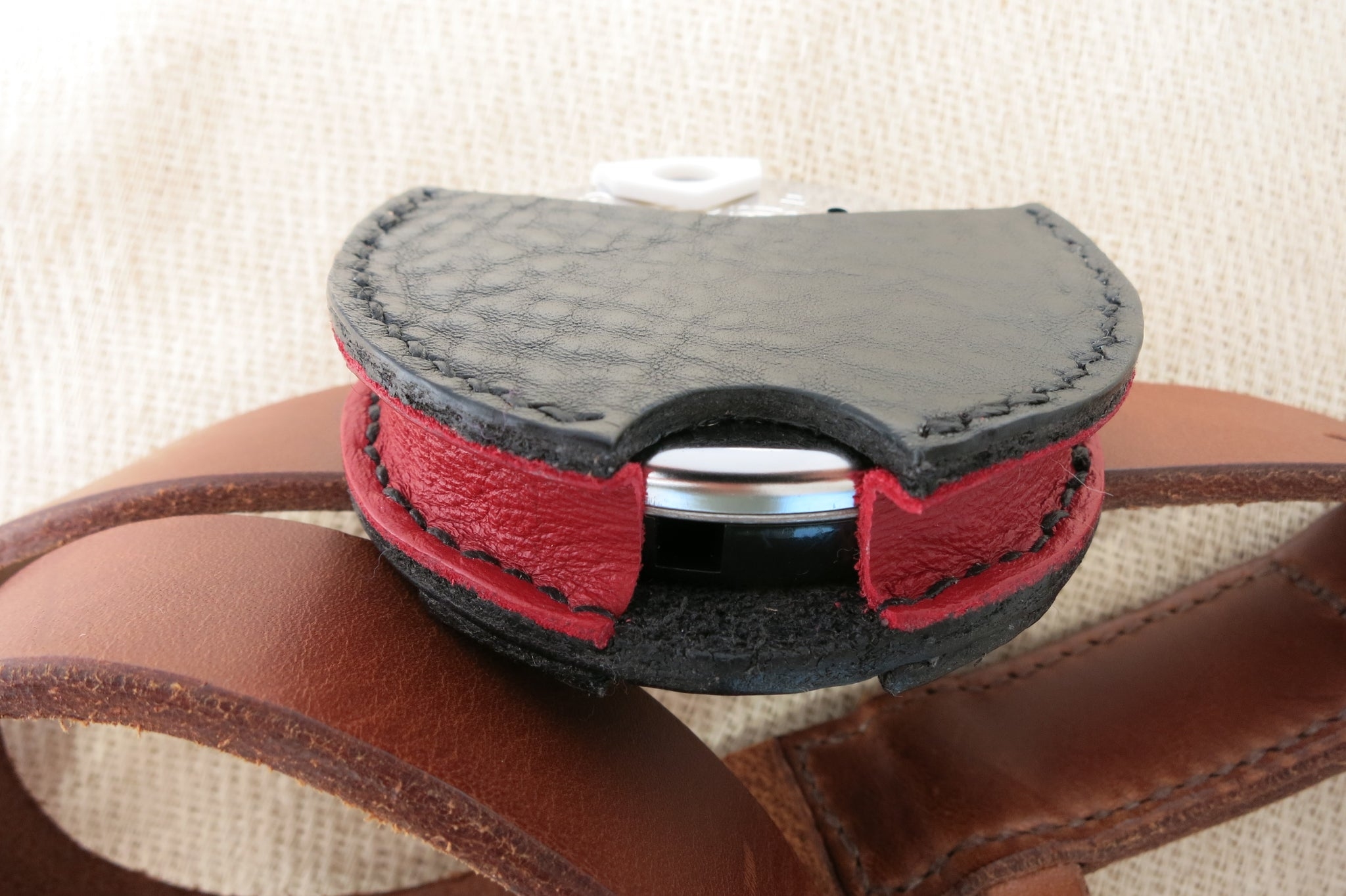 Hand-stitched leather pitch pipe holster