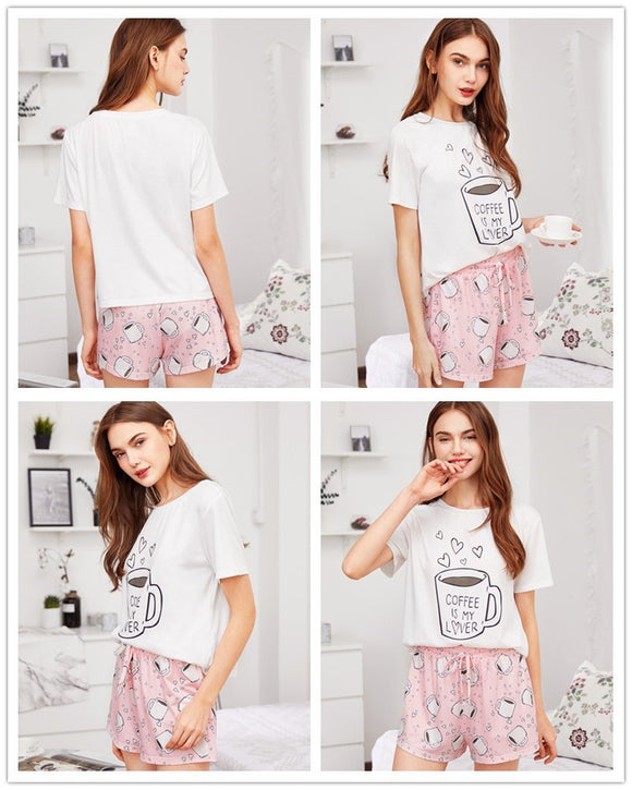 Coffee Print Top Pajama Set