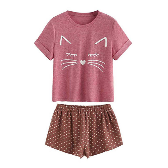 Women's Casual Cat Short Sleeve Set