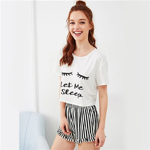 White Graphic Tee & Frilled Striped Shorts PJ