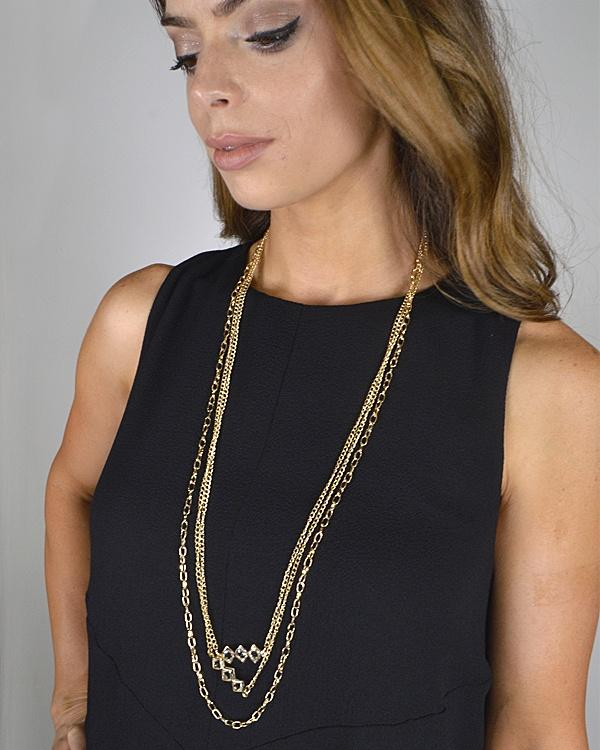 Layered Crystal Studded Necklace - StyleLure
