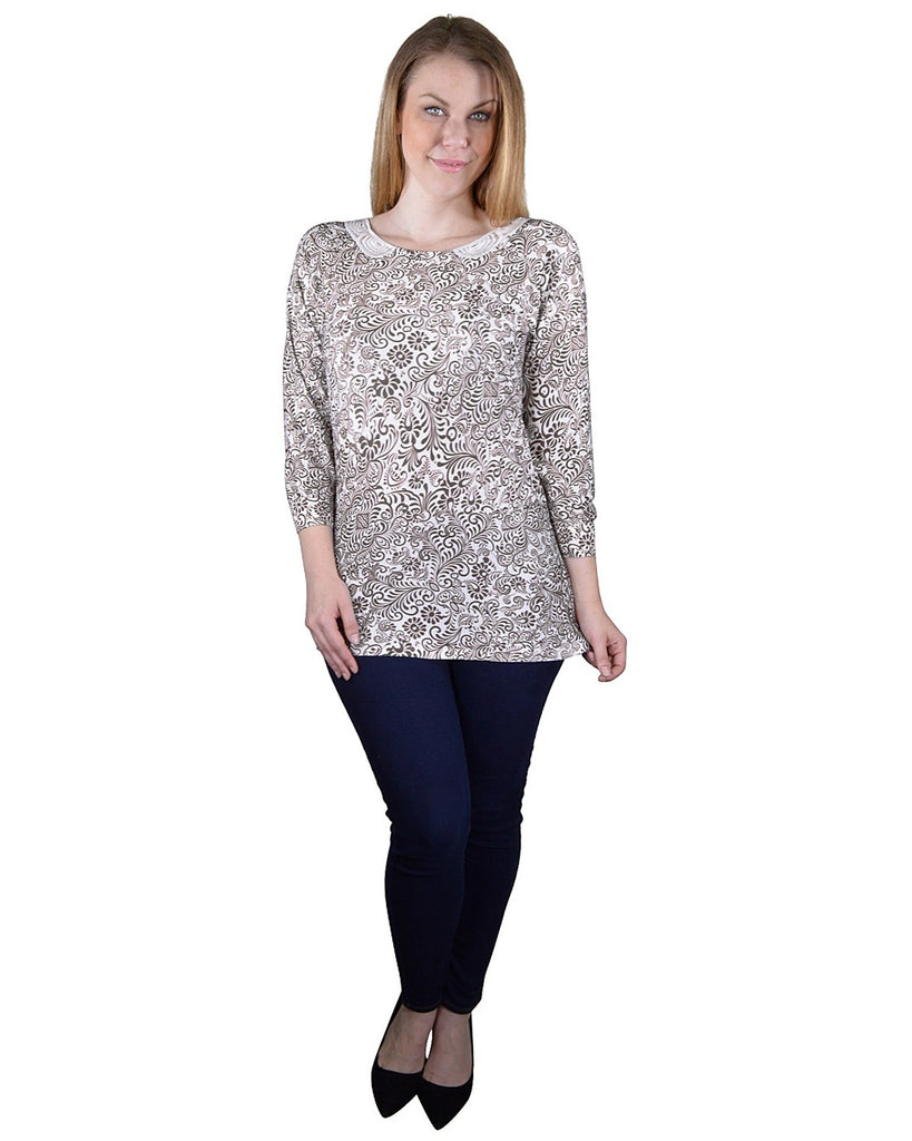 Plus Size Floral Print Lace Detailing Top - StyleLure