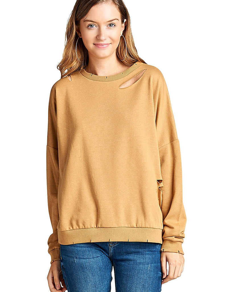 Dropped shoulders distressed cutout design sweatshirt - StyleLure