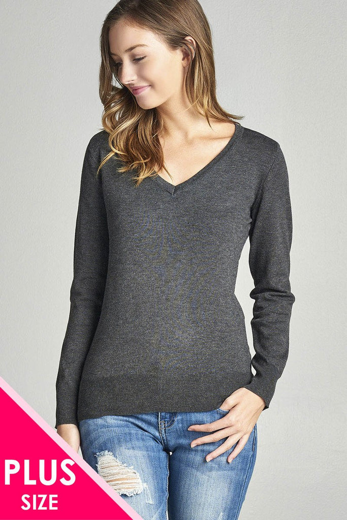 Plus size long sleeve v-neck classic sweater - StyleLure