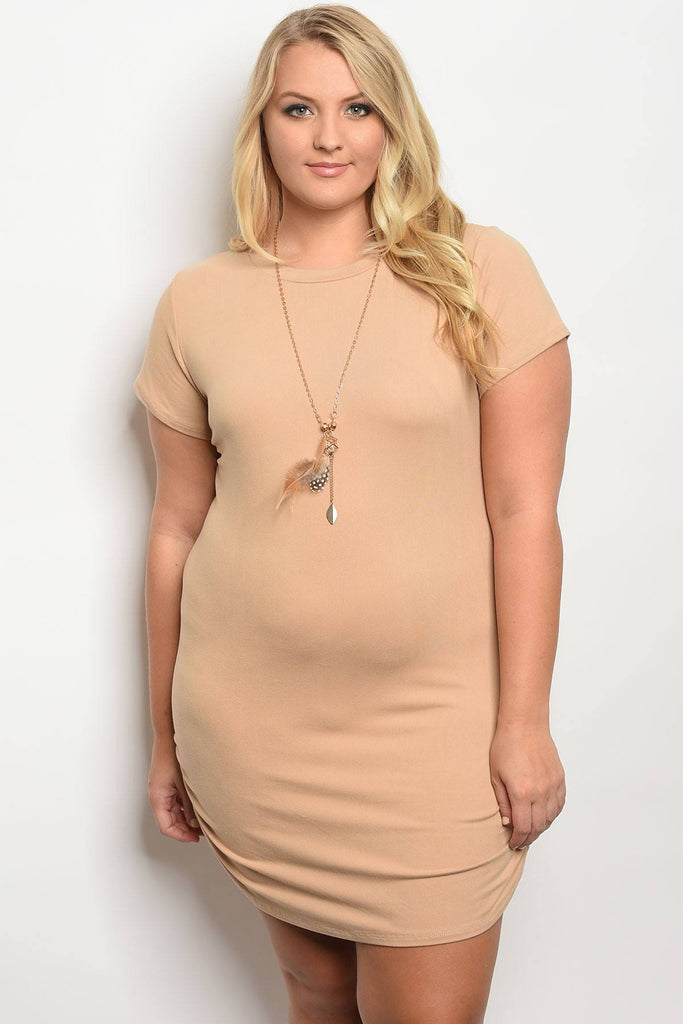 Plus size tan dress with chain - StyleLure