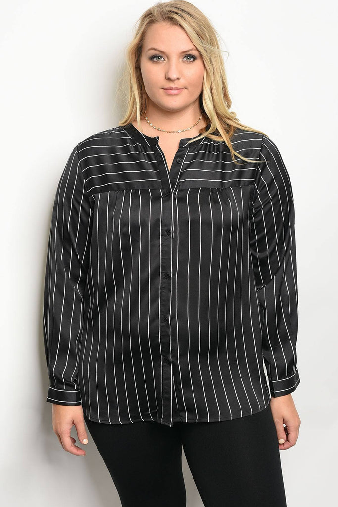 Plus size long sleeve striped satin top with a crew neckline - StyleLure