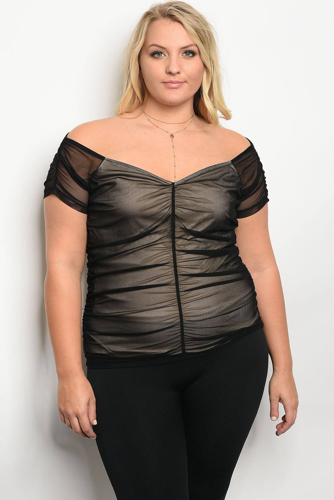 Plus size short sleeve mesh lines top with a sweetheart neckline - StyleLure
