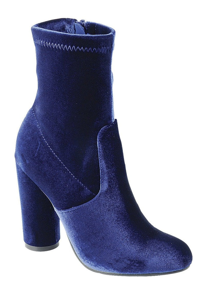 Ladies fashion reflections of sock-like ankle boot, closed almond toe, block heel with zipper closure - StyleLure