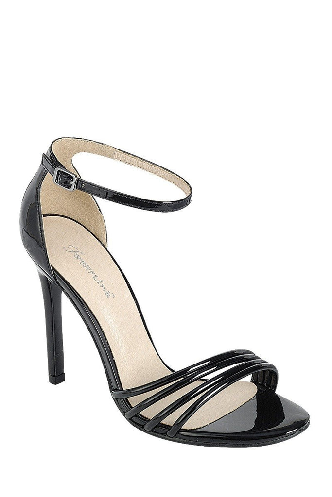 Ladies fashion high heel sandal, open round toe, single sole stiletto, buckle closure - StyleLure