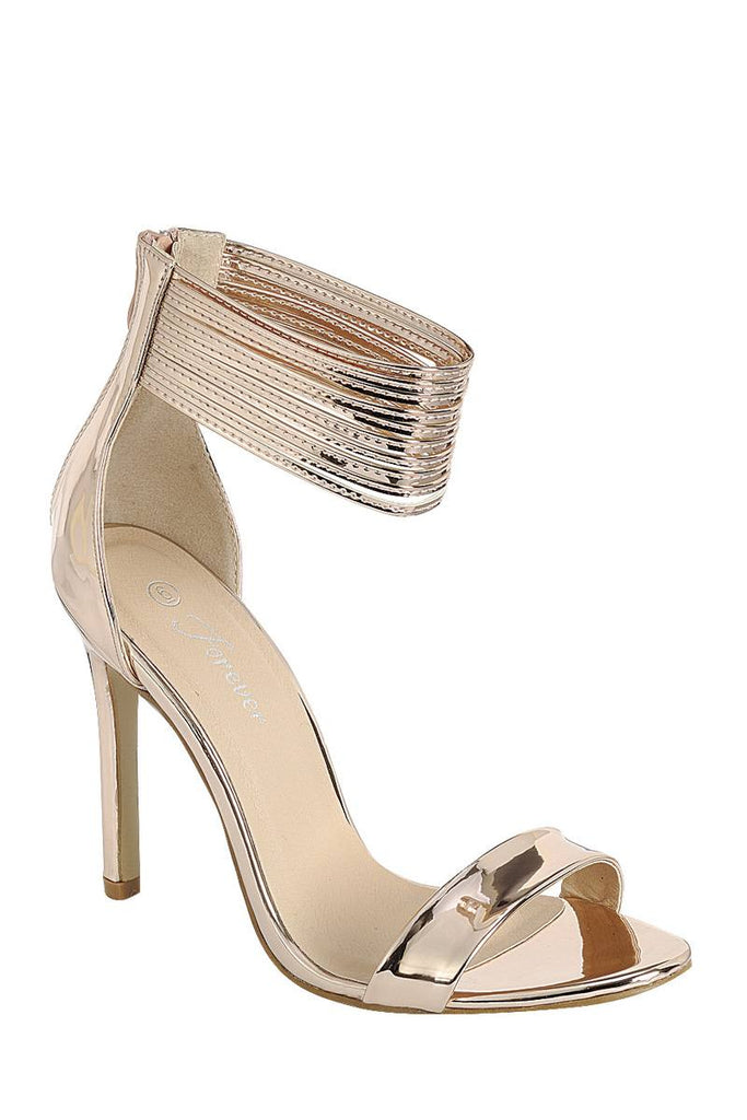 Ladies fashion simple, sophisticated and simply chic. high heel sandal, peep almond toe, stiletto heel, buckle closure - StyleLure