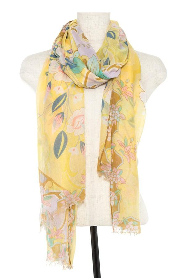 Floral pattern oblong scarf - StyleLure