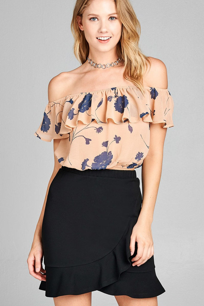 Ladies fashion off the shoulder w/ruffle elastic hem floral print crop woven top - StyleLure
