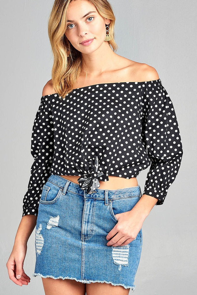 Ladies fashion off the shoulder w/knot front dot print cotton spandex top - StyleLure