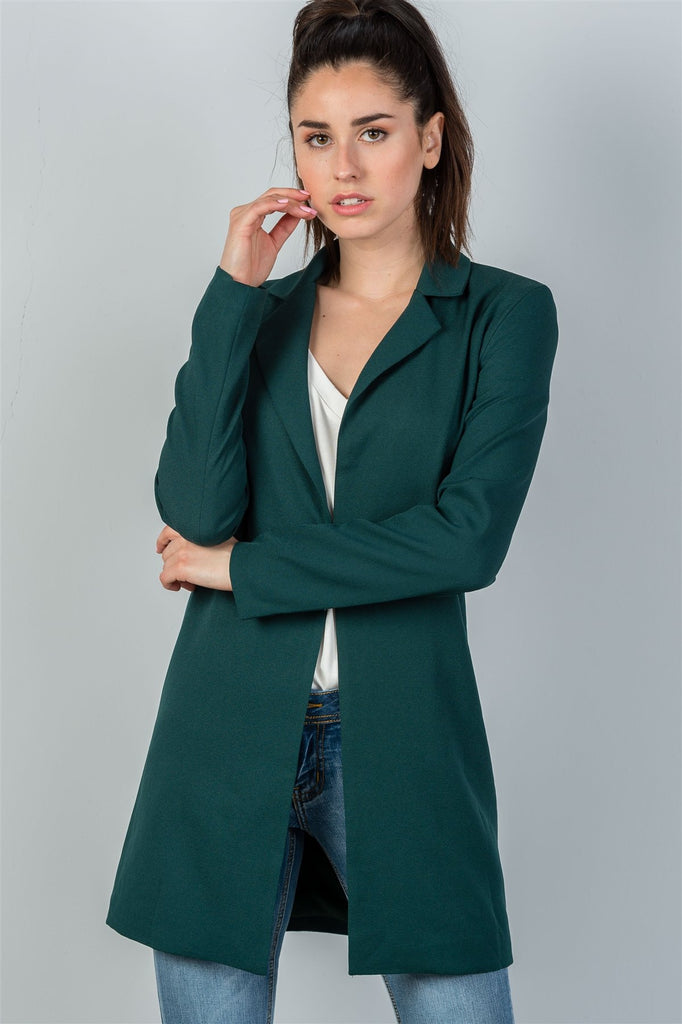 Ladies fashion oversize fit long sleeve open front blazer jacket - StyleLure