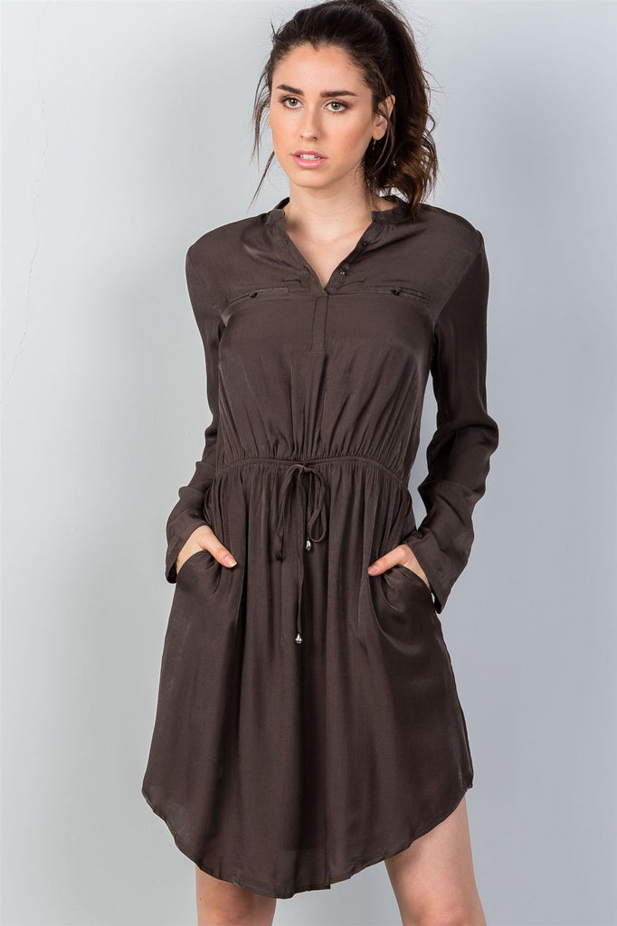 Ladies fashion long sleeve button front closure drawstring waist casual dress - StyleLure