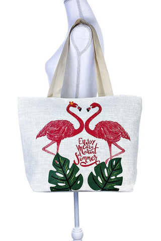 Painted two flamingo tote bag