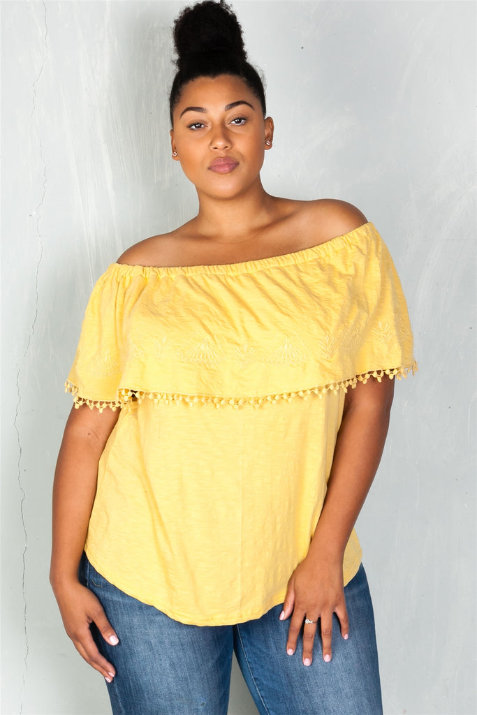Ladies fashion plus size  boho mustard plus size geo-tribal embroidered off the shoulder top - StyleLure