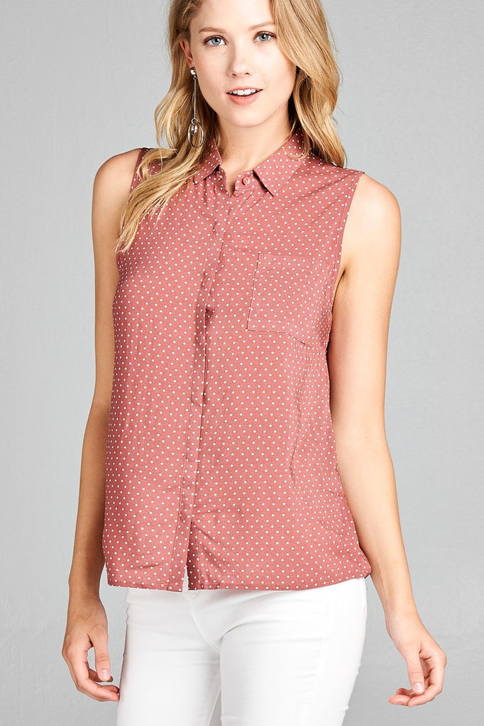 Ladies fashion sleeveless w/pocket dot print rayon challis woven top - StyleLure