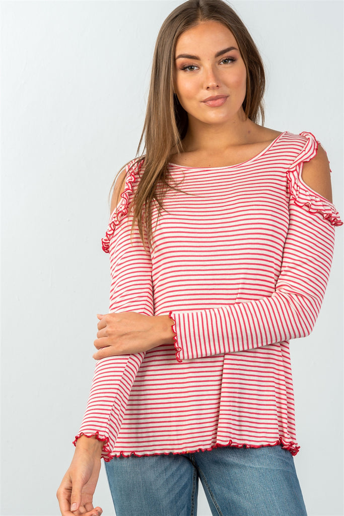 Ladies fashion long sleeve stripe ruffled cold-shoulder top - StyleLure