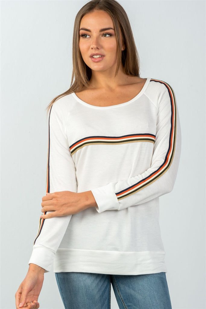 Ladies fashion round neckline colored stripes long sleeves knit top - StyleLure