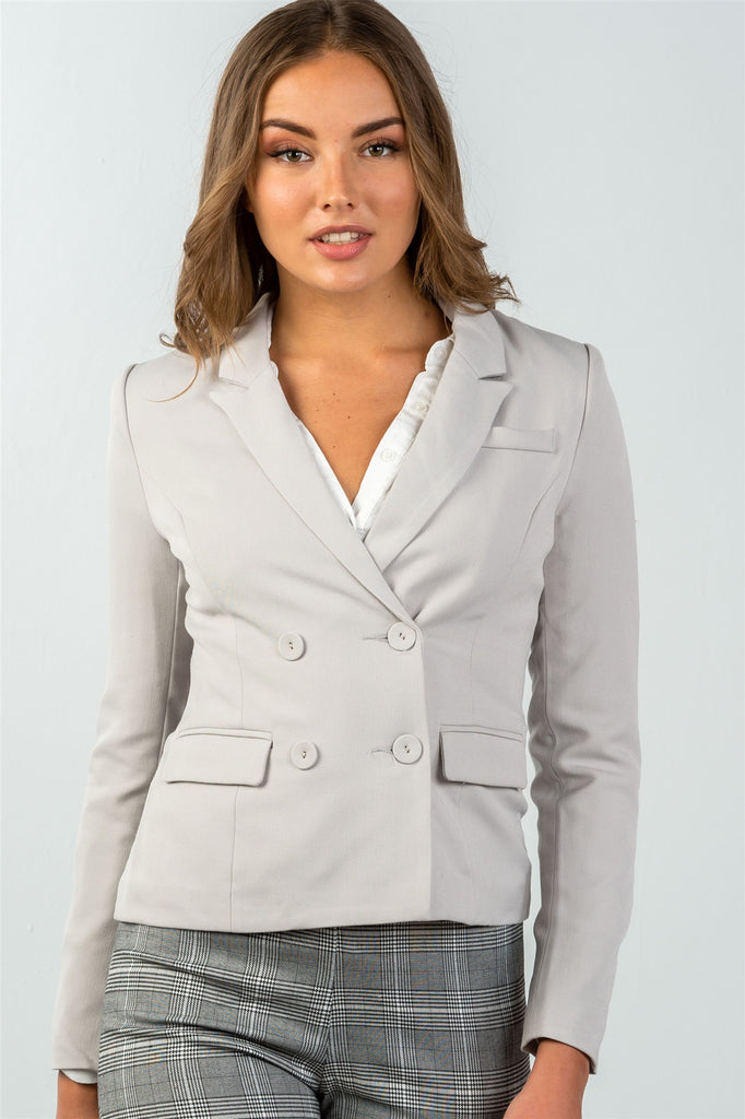 Ladies fashion grey double button down classic solid blazer - StyleLure