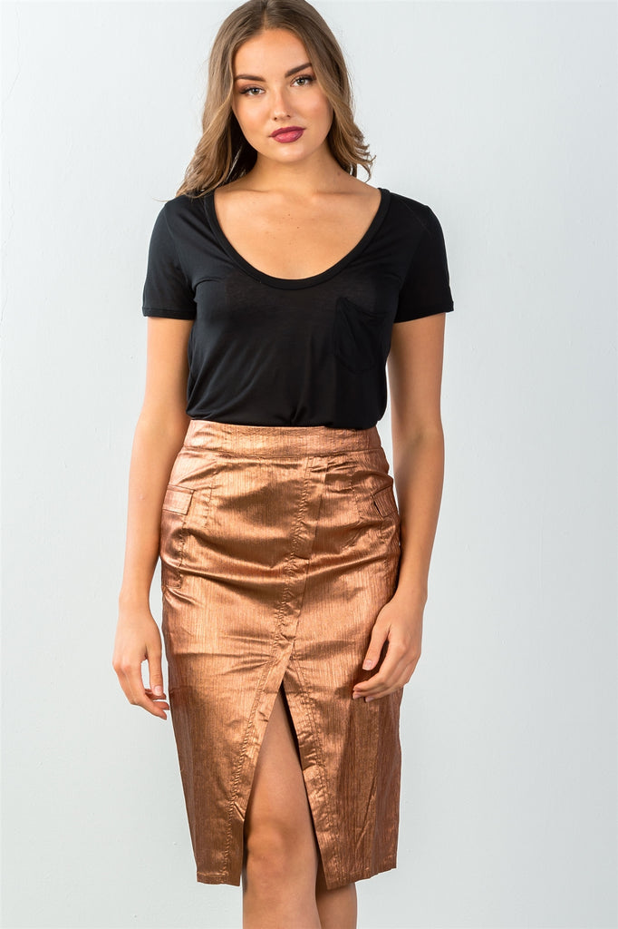 Ladies fashion mid length faux pockets  metallic front split midi skirt - StyleLure