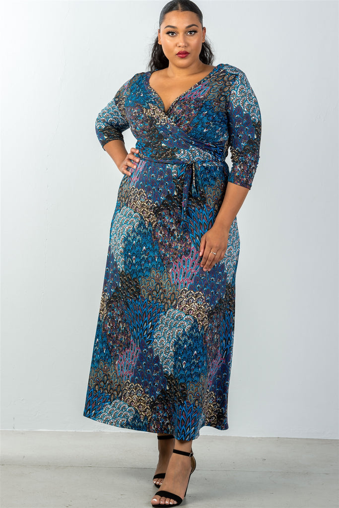 Ladies fashion plus size waist tie multi-blue mix print faux wrap maxi dress - StyleLure