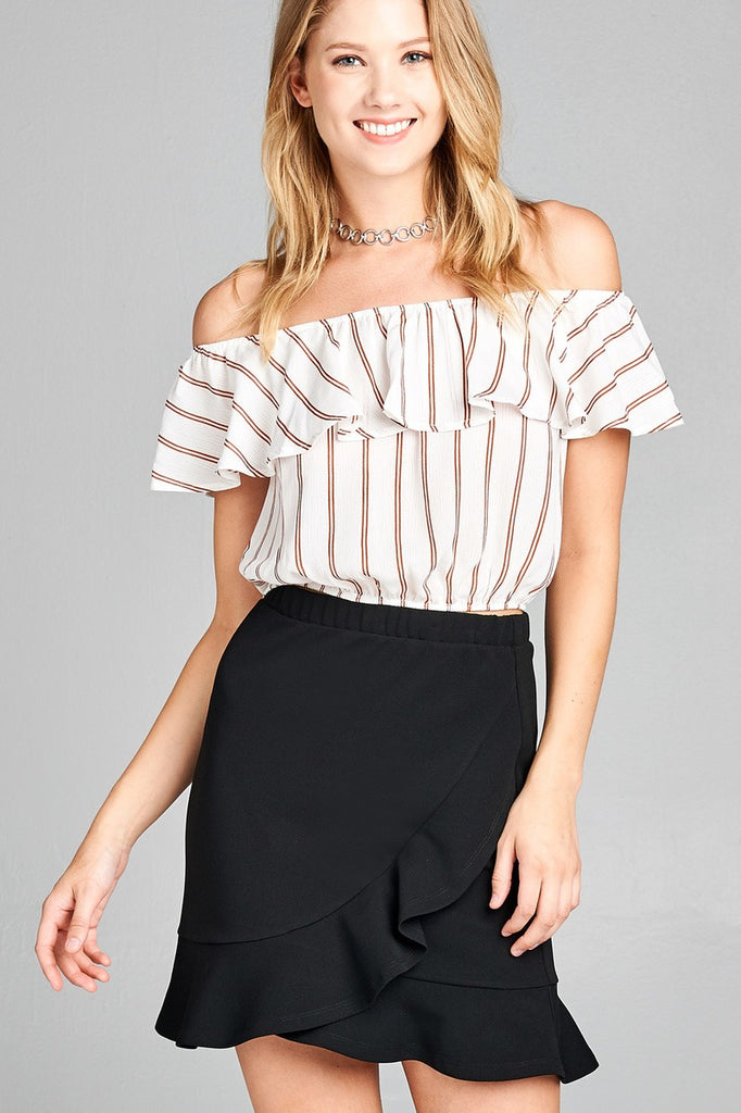 Ladies fashion off the shoulder w/ruffle elastic hem stripe print crop woven top - StyleLure