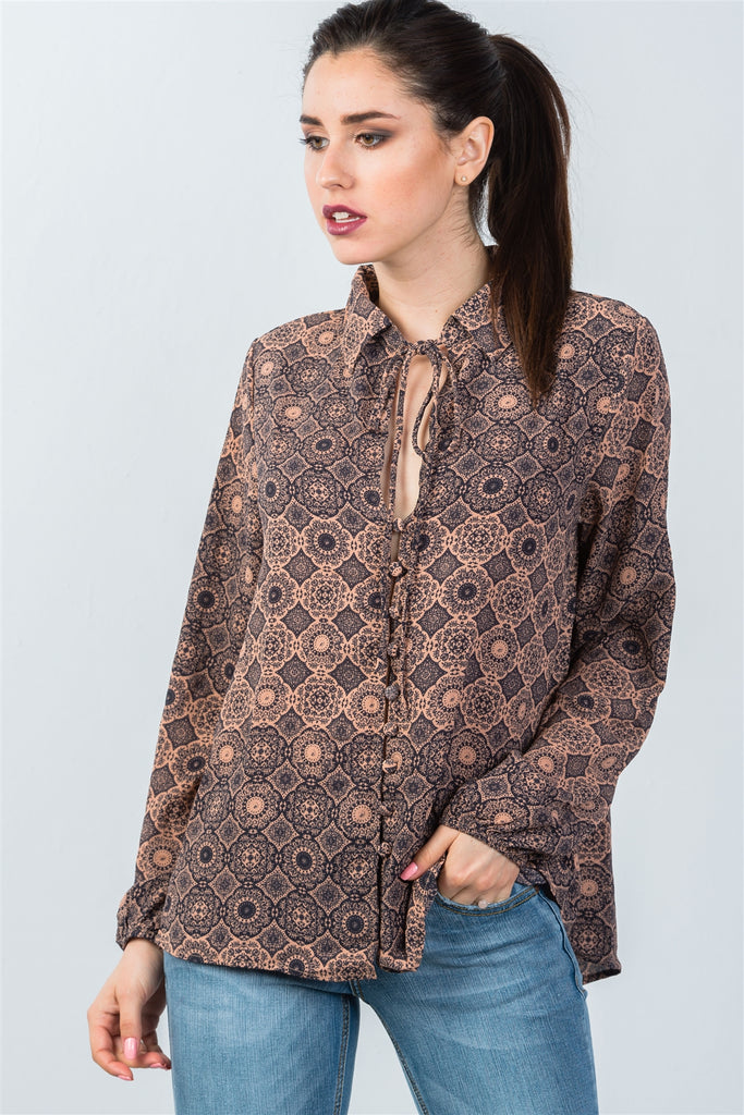 Ladies fashion front key hole button down mix print tie-neck blouse - StyleLure