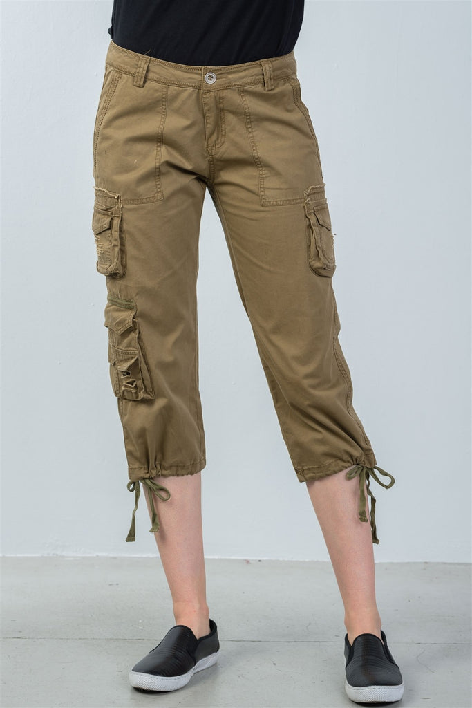 Ladies fashion capri pants with adjustable leg tie - StyleLure