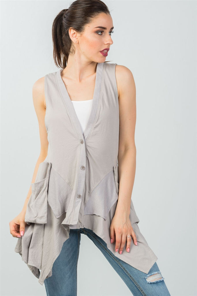 Ladies fashion front button down closure solid color sleeveless asymmetric hem vest - StyleLure