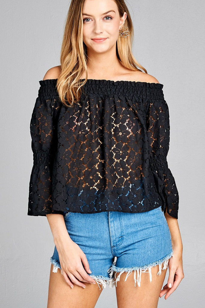 Ladies fashion off the shoulder w/smocked detail floral lace top - StyleLure