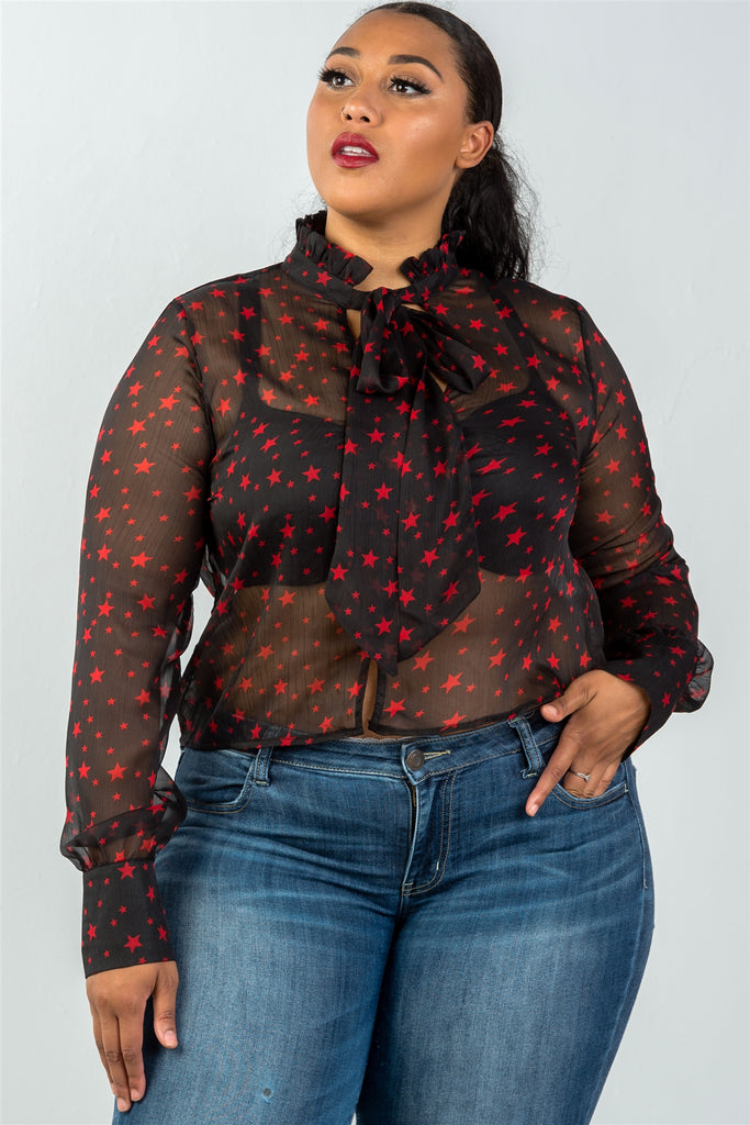 Ladies fashion plus size long sleeve star print high neck mesh top - StyleLure